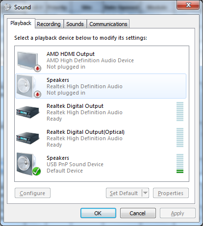 Windows 7 Sounds Panel Playback Tab